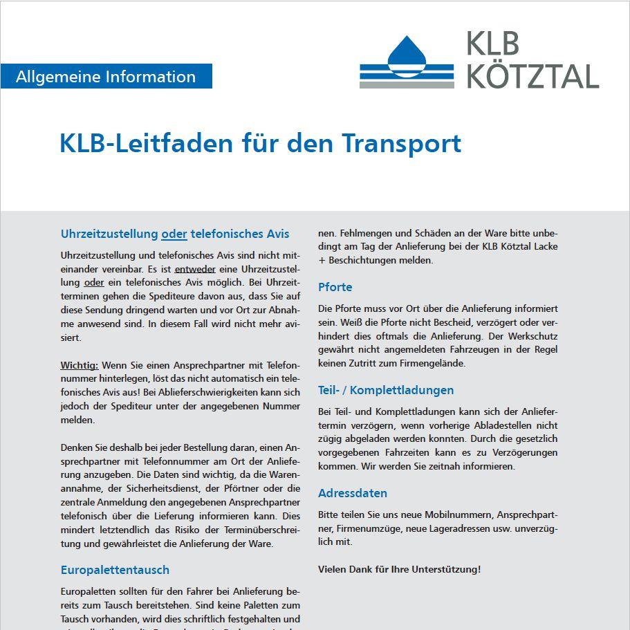KLB-Informationsblatt Transport-Leitfaden