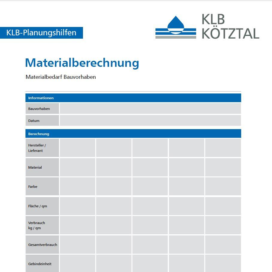 KLB-Informationsblatt zur Materialbedarfsrechnung für Bauvorhaben