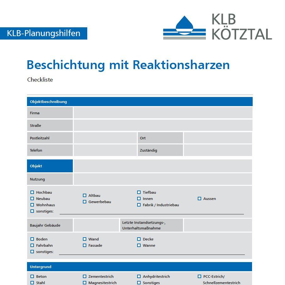 KLB-Checkliste zur Planungshilfe für die Beschichtung mit Reaktionsharzen