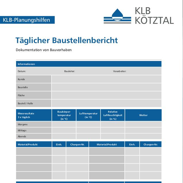 KLB-Informationsblatt Dokumentation Baustellenbericht