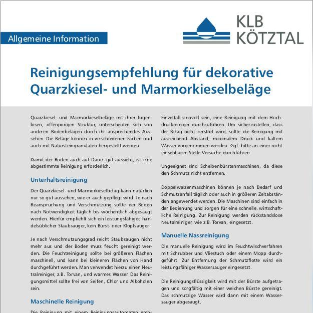 KLB-Informationsblatt Reinigungsempfehlung für Quarzkiesel- und Marmorkieselbeläge