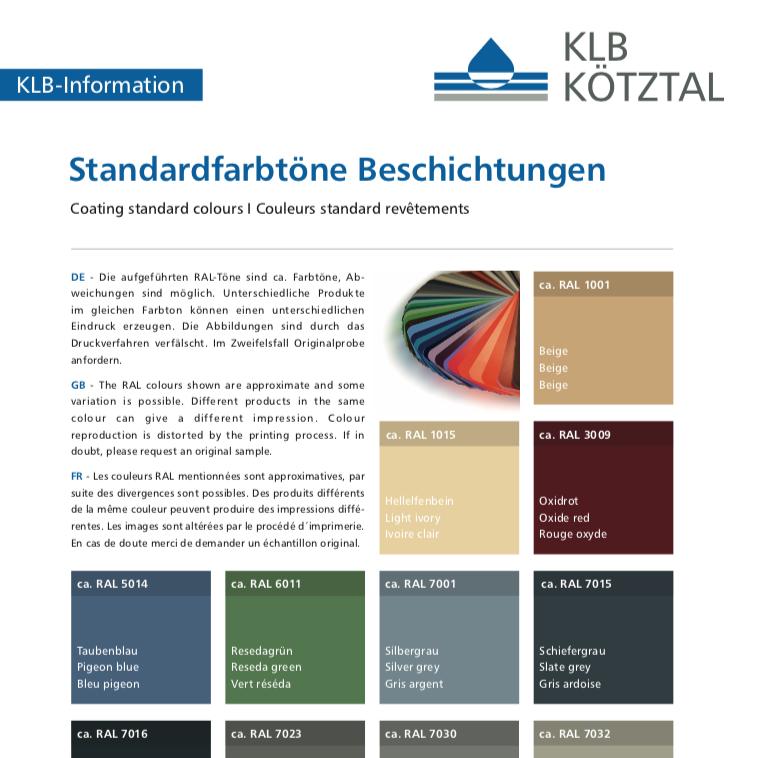 KLB-Informationsblatt Standardfarbtöne von Beschichtungen