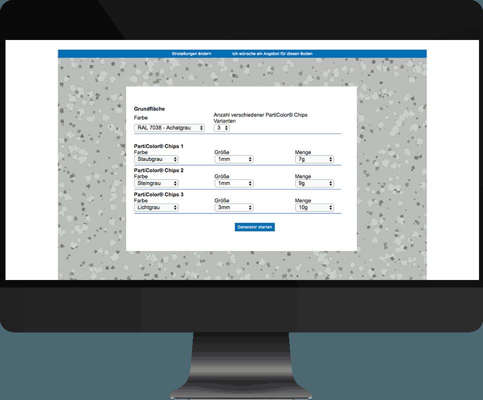 Bildschirm-Screenshot des Bodendesigners auf der Homepage mit Auswahlmöglichkeiten