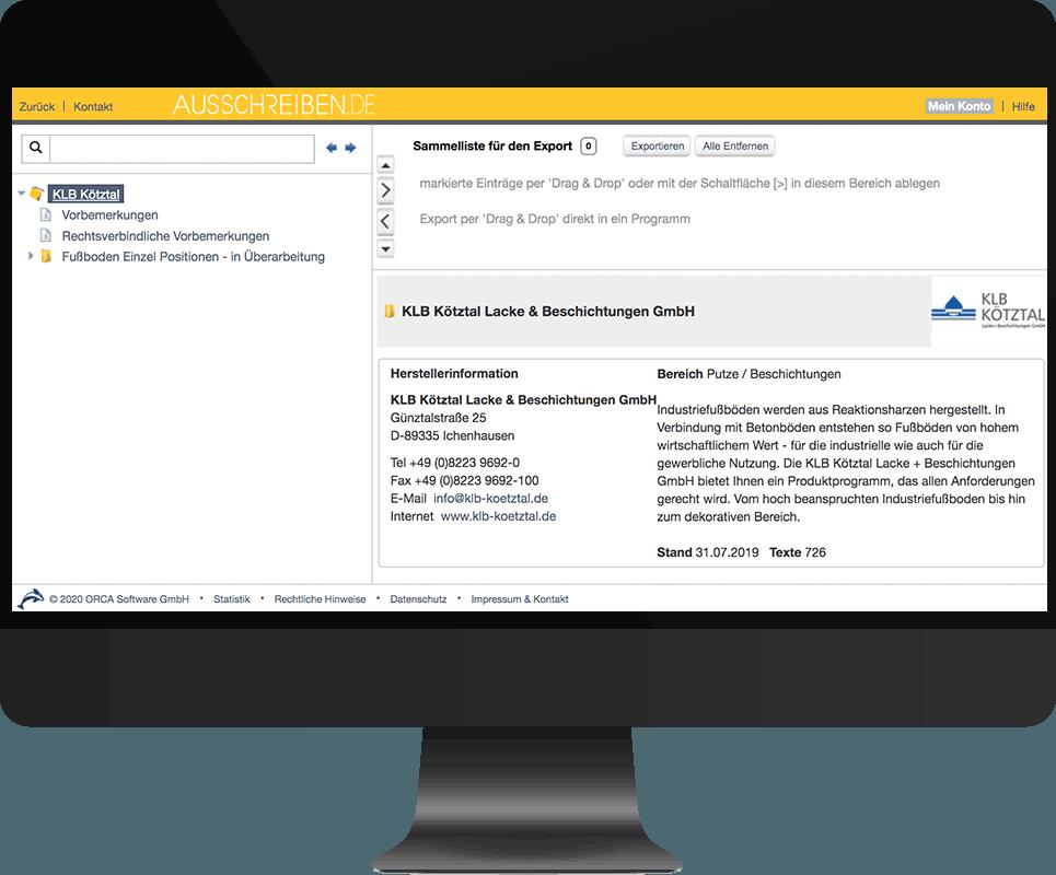 Bildschirm-Screenshot der Ausschreibungen auf der Homepage