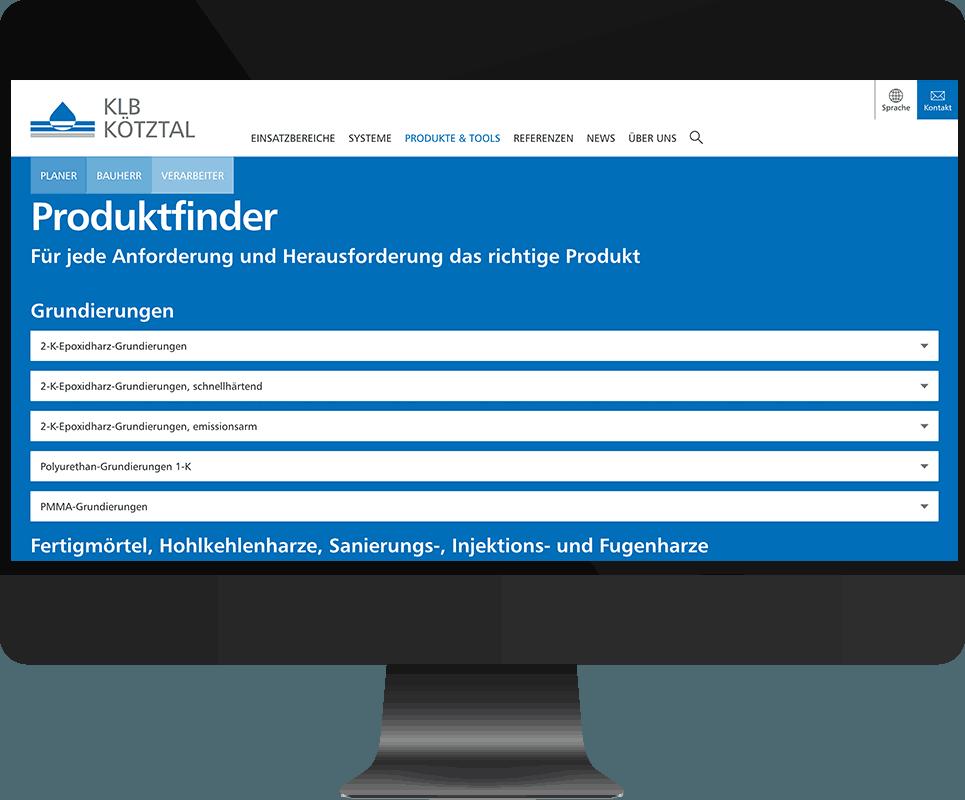 Bildschirm-Screenshot des Produktfinders auf der Homepage vor blauem Hintergrund