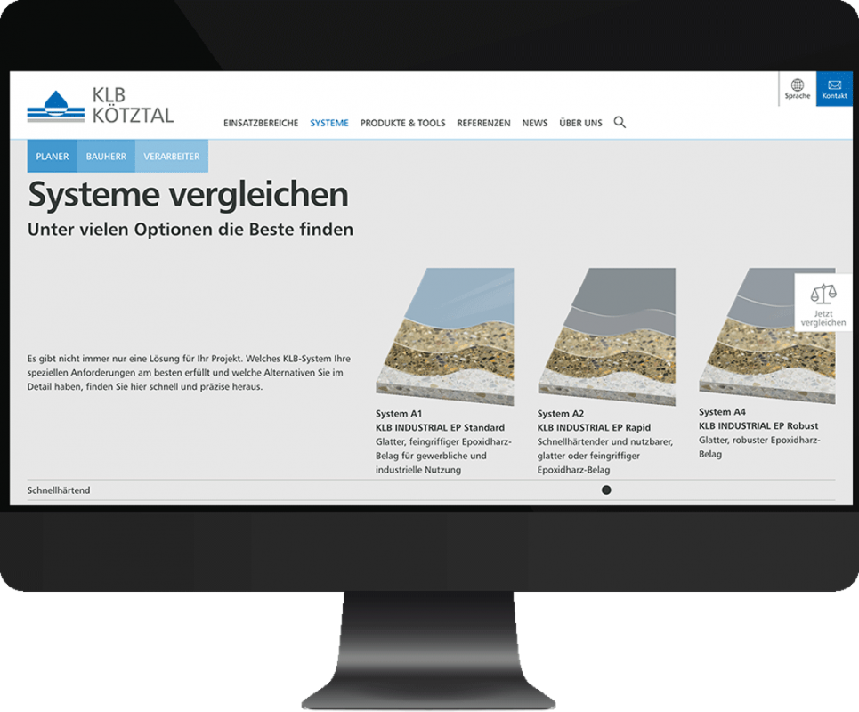 Bildschirm-Screenshot des Systemvergleichs auf der Homepage mit A1, A2 und A4 als Vorschau