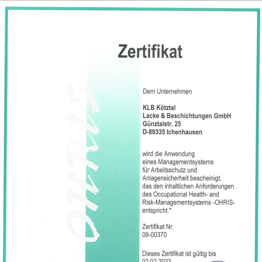 OHRIS-Zertifikat als Bestätigung für ein Managementsystem für Arbeitsschutz und Anlagensicherheit