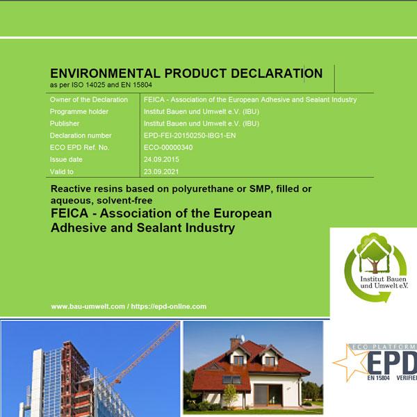 Umweltproduktdeklaration: Reaktionsharz auf Polyurethan-Basis gefüllt ,wässrig, lösungsmittelfrei