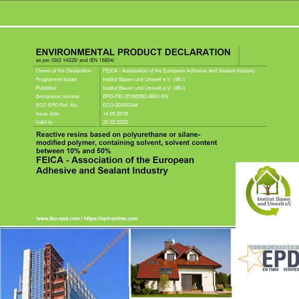 Umweltproduktdeklaration: Reaktionsharz auf Polyurethan-Basis lösemittelhaltig 10-50 Prozent