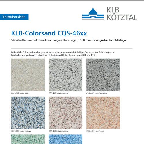 Farbübersicht Standardfarben der KLB-Colorsandmischungen