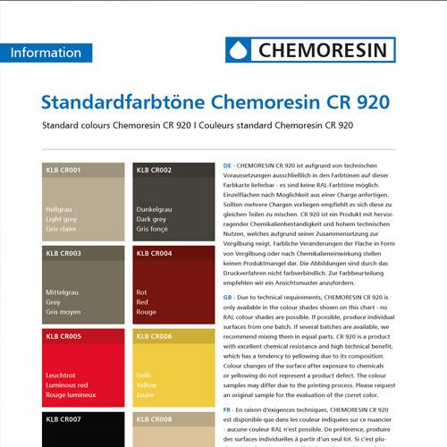 Farbübersicht der Standardfarbtöne von Chemoresin CR 920